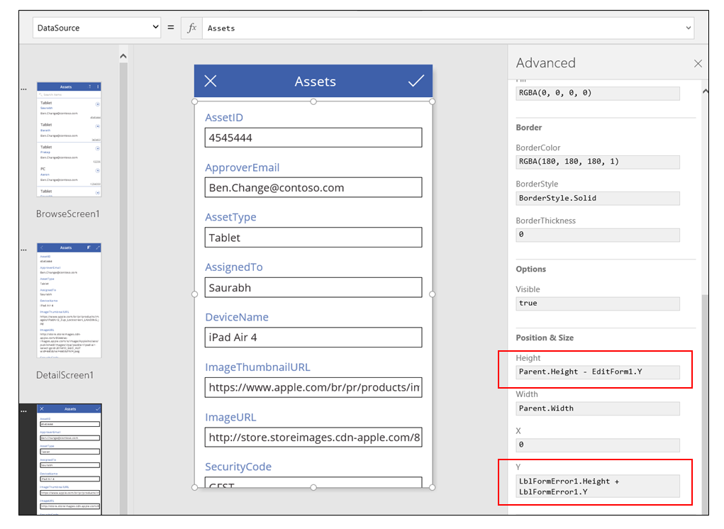 App from data edit form with form control selected