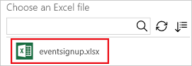 Specify the Excel file that you want to use