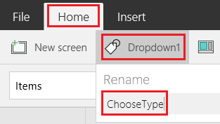 Rename the drop-down list