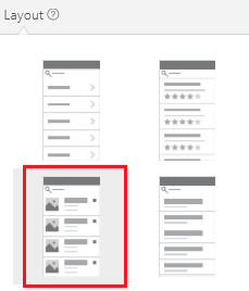 Layout option with icons