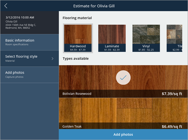 PowerApps flooring sample app